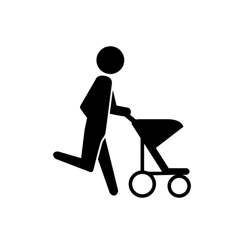 person pushing a stroller while running