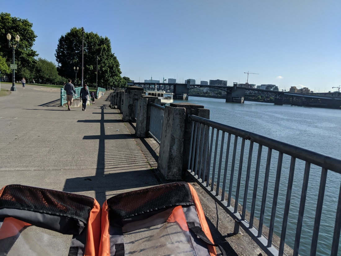 double stroller in the bottom left corner, view of the Burnside Bridge and the Willamette River to the right.
